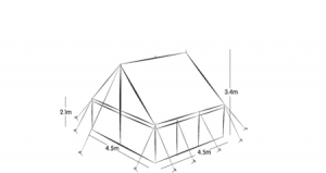 4.5m x 4.5m PEG AND POLE - SELF ERECT