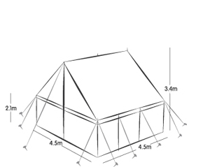 4.5m x 4.5m PEG AND POLE - SELF ERECT