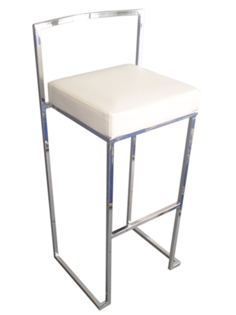 WHITE PADDED BAR STOOL