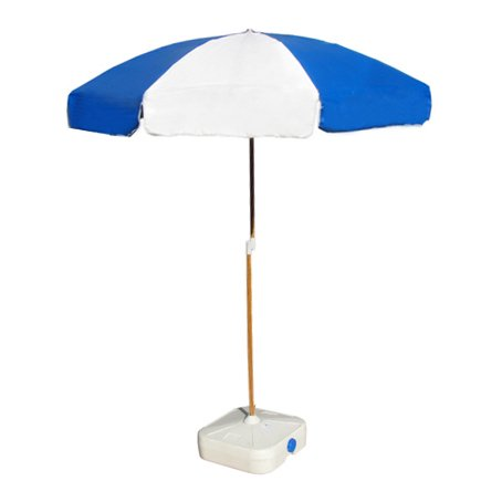 beach umbrella blue and white for hire