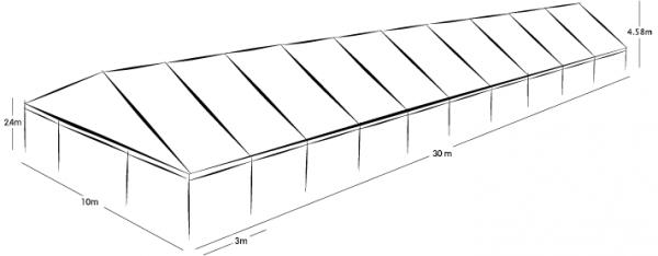 10m x 30m MARQUEE - WHITE ROOF