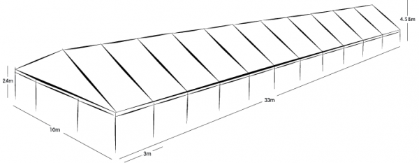 10m x 33m MARQUEE - WHITE ROOF