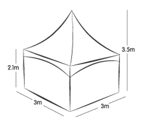 3m x 3m SPRING TOP MARQUEE