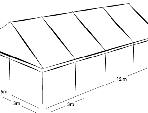 6m x 12m MARQUEE - WHITE ROOF