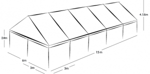6m x 15m MARQUEE - WHITE ROOF