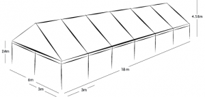 6m x 18m MARQUEE - WHITE ROOF
