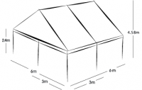 6m x 6m MARQUEE - WHITE ROOF