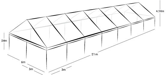 6m x 21m MARQUEE - CLEAR ROOF