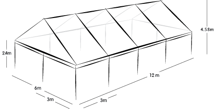 6m x 12m MARQUEE - CLEAR ROOF