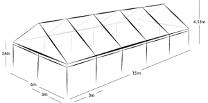 6m x 15m MARQUEE - CLEAR ROOF